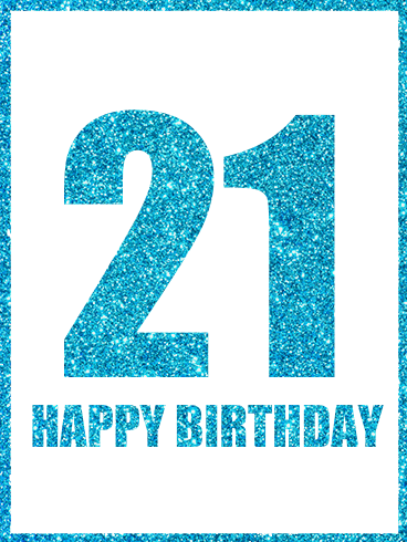 Shining Blue 21st Birthday Card