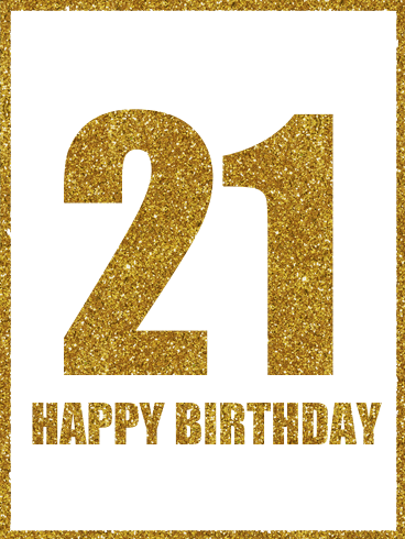 Golden Happy 21st Birthday Card