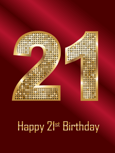 Dark Red Happy 21st Birthday Card