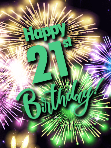 Colorful Happy 21st Birthday Fireworks Card