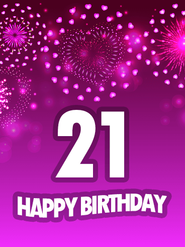 Pink Happy 21st Birthday Fireworks Card