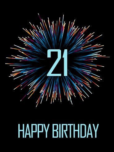 Stylish Happy 21st Birthday Fireworks Card