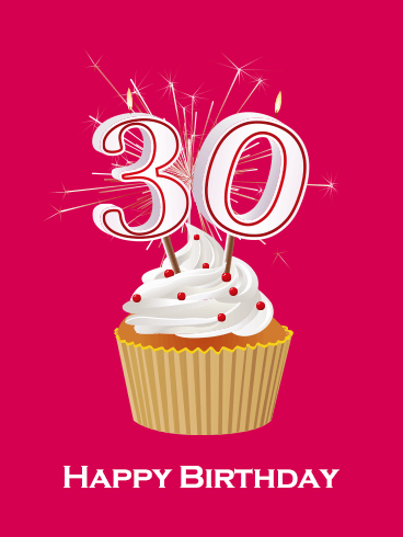 Happy 30th Birthday Cupcake Card