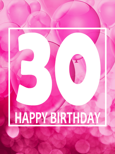 Pink Happy 30th Birthday Balloon Card