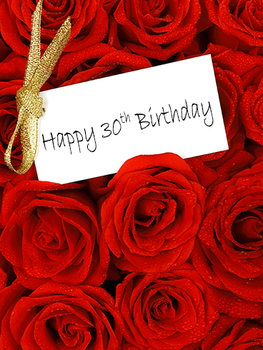 Red Rose Happy 30th Birthday Card