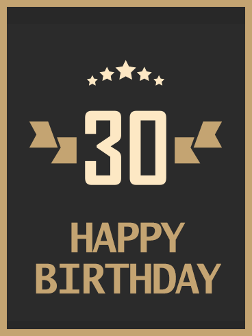 Stylish Happy 30th Birthday Card