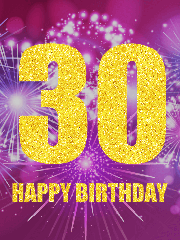 Pink Happy 30th Birthday Fireworks Card