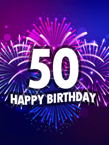 Purple Happy 50th Birthday Fireworks Card