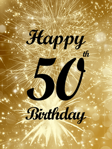Golden Happy 50th Birthday Fireworks Card