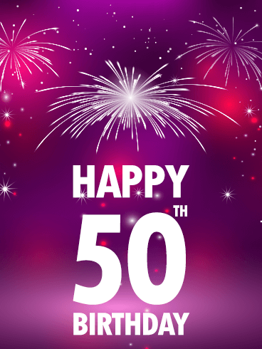 Pink Happy 50th Birthday Fireworks Card