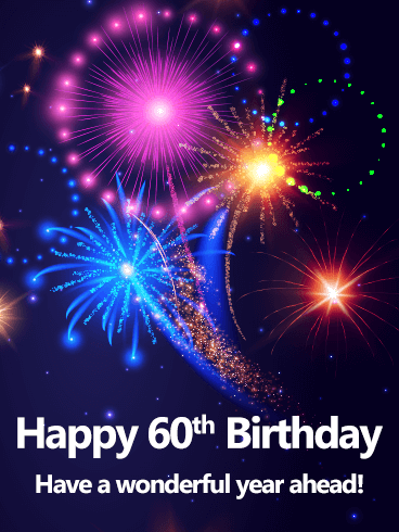 Blue Happy 60th Birthday Fireworks Card