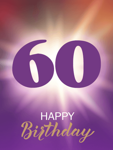Shining Purple Happy 60th Birthday Card