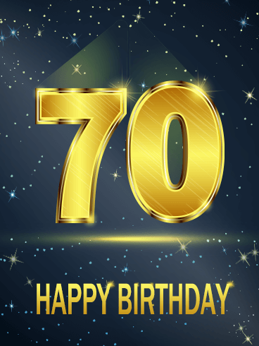 Golden Happy 70th Birthday Card