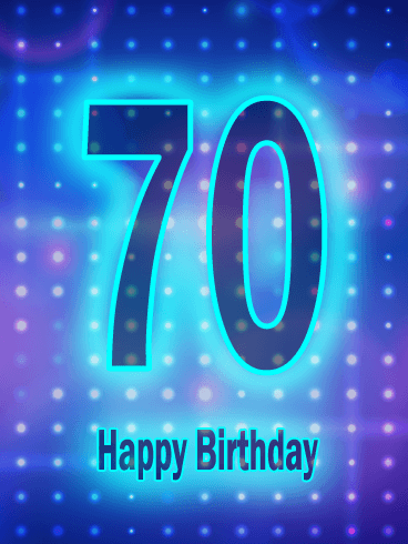 Blue Happy 70th Birthday Card