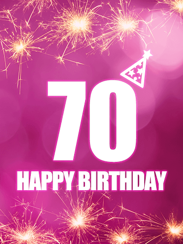 Pink Happy 70th Birthday Card