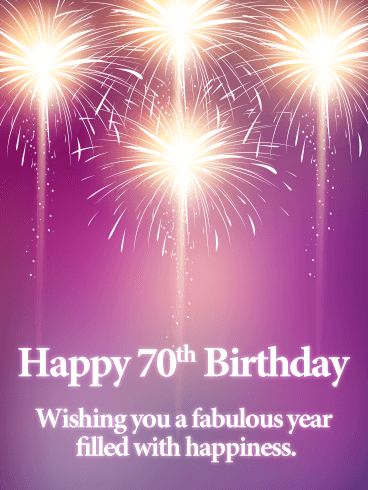Pink Happy 70th Birthday Fireworks Card