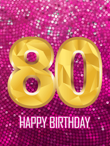 Pink Happy 80th Birthday Card