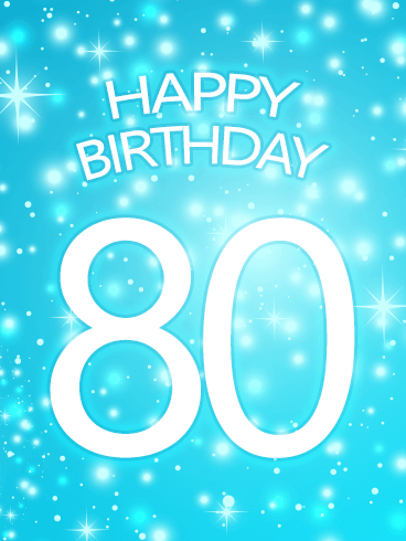 Shining Blue Happy 80th Birthday Card