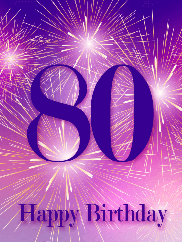 Pink Happy 80th Birthday Fireworks Card